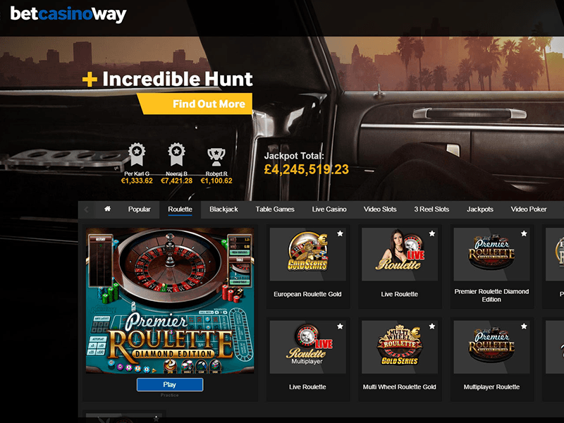 Betway - Roulette Lobby