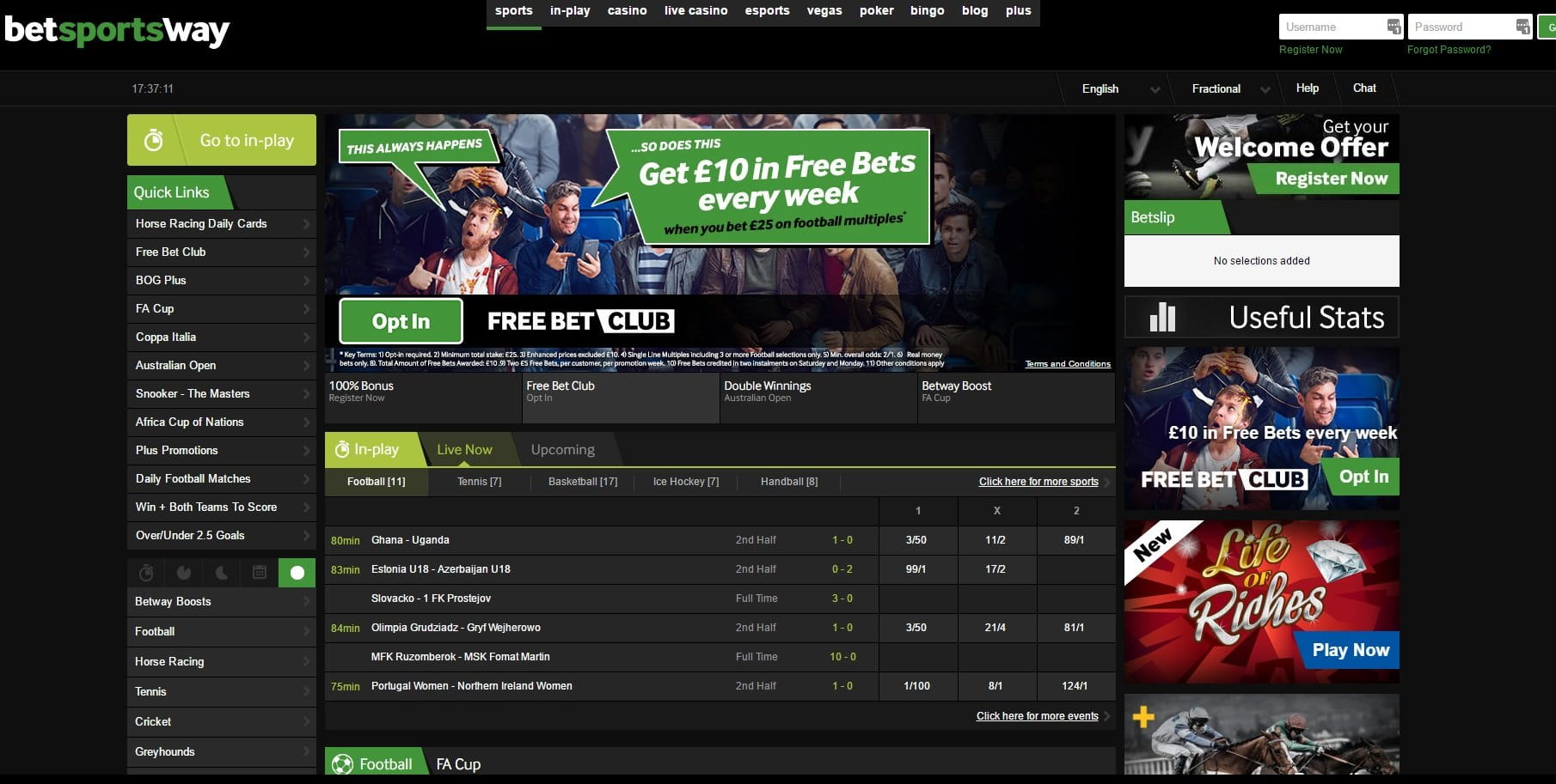 Betway Sports Lobby