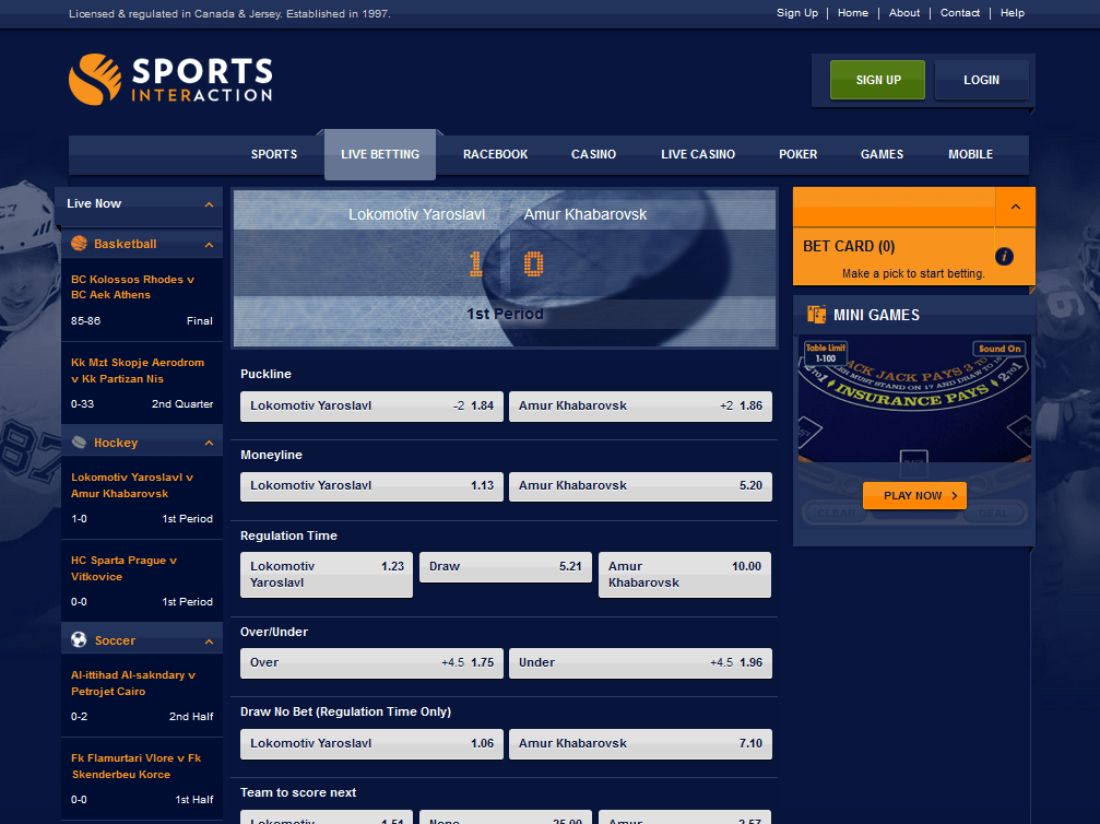 Sports Interaction Live Betting