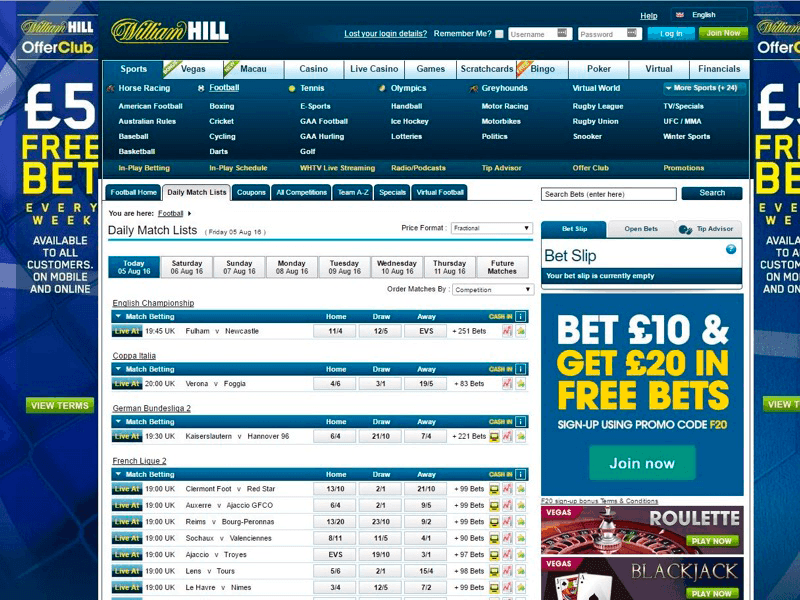 Williamhill Sports - Daily Match Lists