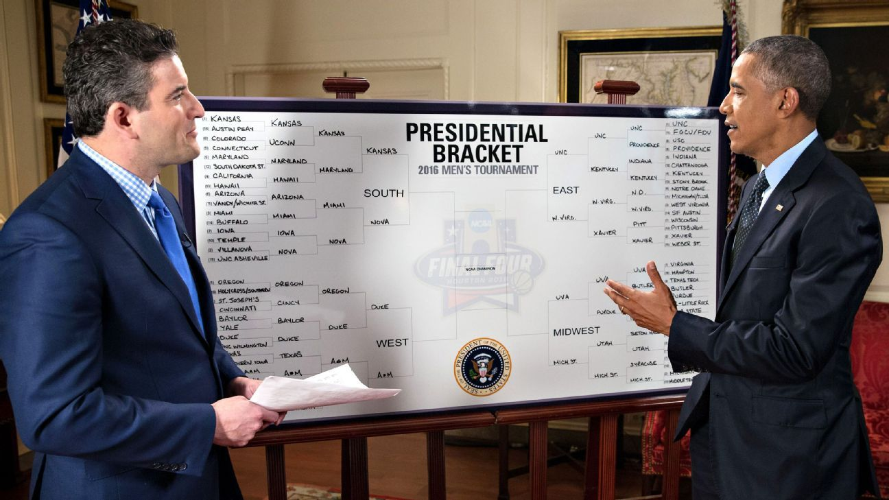 Last year President Obama joined 70 million other people and filled out an NCAA Men's Basketball Tournament Bracket. He chose Kansas, who lost to eventual champion Villanova in the Elite Eight. (Image: Official White House Photo by Chuck Kennedy)