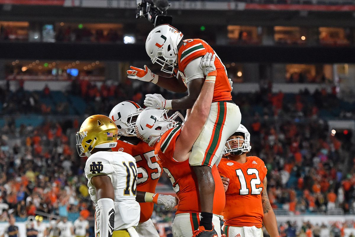 Miami football dismantled Notre Dame earlier in the year and is hoping they can do the same to Wisconsin in the Orange Bowl on Dec. 30. (Image: USA Today Sports)