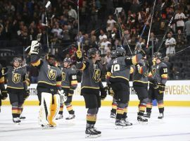 The Vegas Golden Knights acknowledge the crowd at T-Mobile Arena during their successful season so far where they have won 32 games and defied odds makers. (Image: Las Vegas Review Journal)
