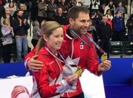 Kaitlyn Lawes and John Morris have each won gold at the Olympics before, and now look to give Canada the first ever gold medal in mixed doubles curling. (Image: Devin Heroux/CBC Sports)