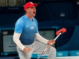 American skip John Shuster led the United States to their first gold medal in curling at the Winter Olympics. (Image: Doug Mills/The New York Times)