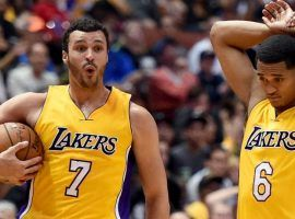 Larry Nance Jr., left, and Jordan Clarkson have been traded from the Lakers to Cleveland to try and help the Cavaliers mount another run to the NBA Championship. (Image: Getty)