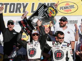 Kevin Harvick celebrates his second consecutive NASCAR Cup victory after the Pennzoil 400 at the Las Vegas Motor Speedway. (Image: Brian Lawdermilk/Getty)