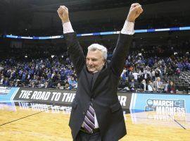 Kansas State Coach Bruce Weber celebrates after his team upset Kentucky on Thursday. (Image: Curtis Compton/AP)