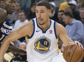 Klay Thompson suffered a fractured thumb on Sunday, making him the latest Golden State All-Star to miss time this season. (Image: Kyle Terada/USA TODAY Sports)