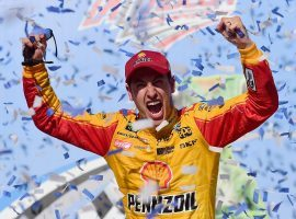 Joey Logano celebrates snapping a year-long losing streak on Sunday after winning the Geico 500 at Talladega. (Image: Jared C. Tilton/Getty)