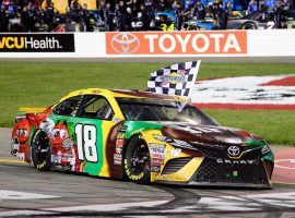 Kyle Busch celebrated his third consecutive NASCAR Cup Series victory on Saturday after winning the Toyota Owners 400 at Richmond Raceway. (Image: Robert Laberge/Getty)