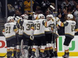The Golden Knights became the first team to advance to the second round of the NHL playoffs after sweeping the Los Angeles Kings, 4-0. (Image: AP)