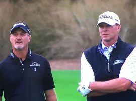 Jerry Kelly, left, and Steve Stricker are teaming up this week for the Champions Tour's Legends of Golf. (Image: Getty)