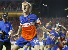 FC Cincinnati forward Jimmy McLaughlin celebrates after a win over Chicago Fire in the 2017 US Open Cup. FC Cincinnati will be joining MLS as an expansion franchise in 2019. (Image: The Enquirer/Kareem Elgazzar)