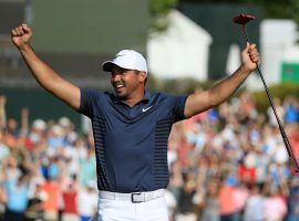 Jason Day celebrates after a par putt on the 18th hole clinches victory for him at the 2018 Wells Fargo Championship. (Image: Sam Greenwood/Getty)