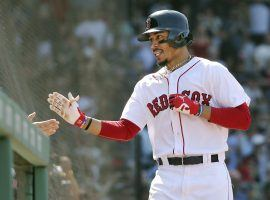 Mookie Betts has put up gaudy numbers for the Red Sox, placing him in the midst of a classic MVP race with the Los Angeles Angels' Mike Trout. (Image: AP/Elise Amendola)
