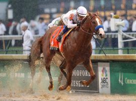Justify won the Kentucky Derby by more than two lengths and is now the +150 favorite to win the second leg of the Triple Crown the Preakness on May 19. (Image: Getty)