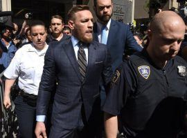 Conor McGregor leaves Kings County Supreme Courthouse in Brooklyn Thursday after a hearing related to his attack on a bus at the Barclays Center before UFC 223. (Image: Timothy a. Clary/AFP/Getty)