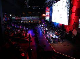 The NHL Gaming World Championship took place on Tuesday at the Esports Arena Las Vegas at the Luxor. (Image: Erik Verduzco/Las Vegas Review-Journal)