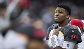 Tampa Bay Buccaneers quarterback Jameis Winston looks on during a 2017 game vs. the New Orleans Saints. (Image: Getty)
