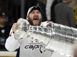 Washington Capitals captain Alexander Ovechkin celebrates with the Stanley Cup after his team defeated the Vegas Golden Knights in Game 5 of the Final. (Image: AP)