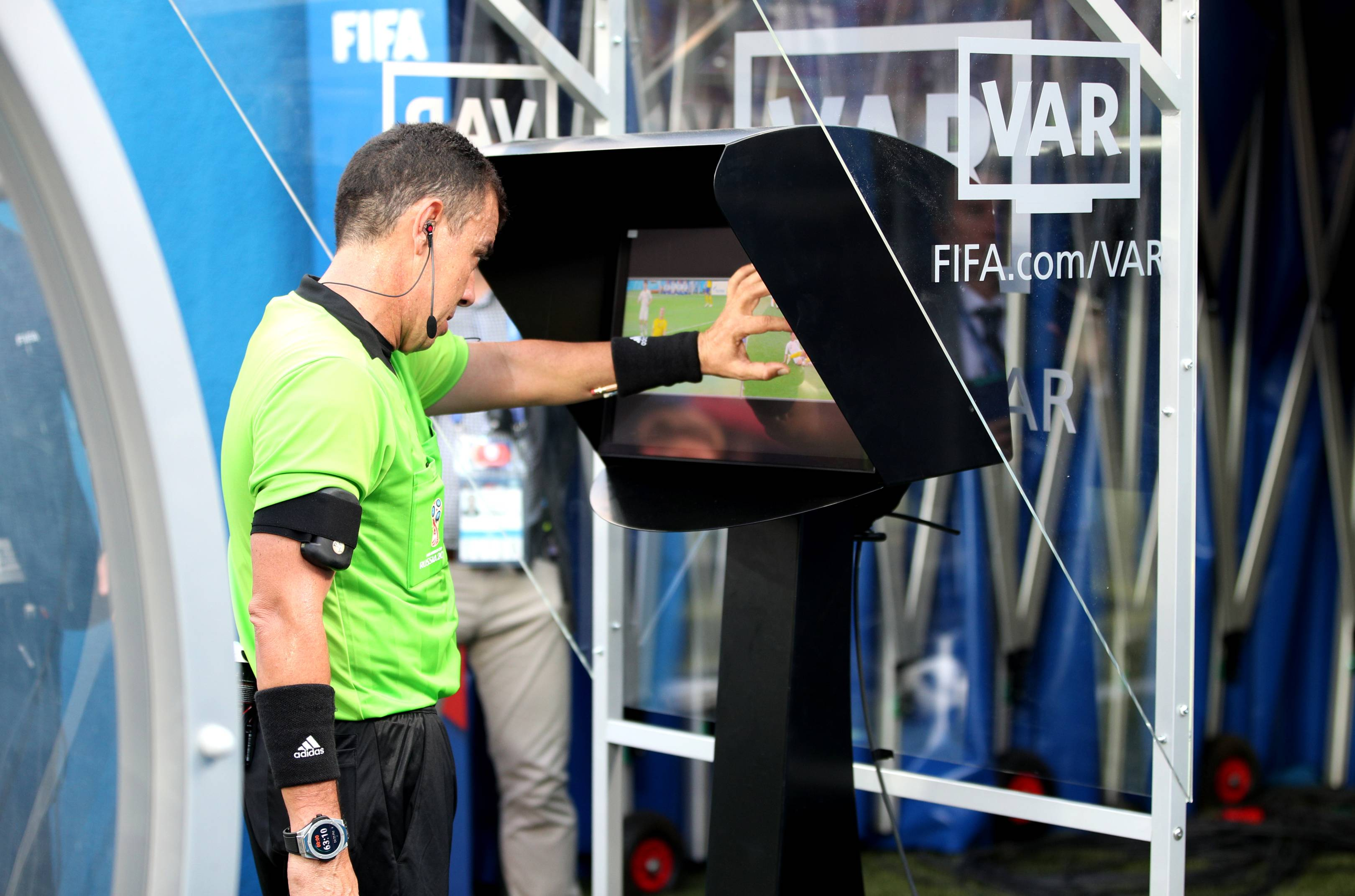 VAR screen being used at the 2018 World Cup