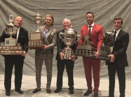 From left: Vegas Golden Knights Coach Gerard Gallant, forward William Karlsson, Owner Bill Foley, defenseman Deryk Engelland, and General Manager George McPhee pose with some of the awards they picked up at the NHL Awards ceremony on Tuesday. (Image: Twitter/Golden Knights)