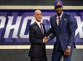 NBA Commissioner Adam Silver congratulates NBA Draft No. 1 pick Deandre Ayton. (Image: AP)