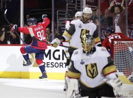 Washington Capitals forward Evgeny Kuznetsov, back left, of Russia, celebrates his goal against Vegas Golden Knights goaltender Marc-Andre Fleury, during the second period in Game 3 of the NHL  Stanley Cup Finals, (Image: Alex Brandon/AP)