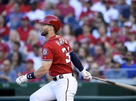The Washington Nationals were said to be shopping Bryce Harper before the trade deadline, though GM Mike Rizzo said Tuesday morning that Harper would be staying put. (Image: Susan Walsh/AP)