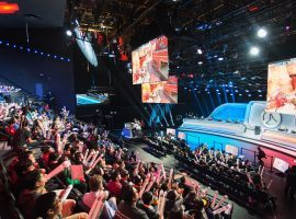 Fans watch an Overwatch League match live in studio. ESPN, Disney, and ABC will begin airing Overwatch League matches and highlights this month. (Image: Damon Casarez/Wired)