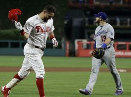 Trevor Plouffe of the Philadelphia Phillies celebrates after hitting a game-winning three-run home run to beat the Dodgers in a 16-inning game on Tuesday night. (Image: Matt Slocum/AP)