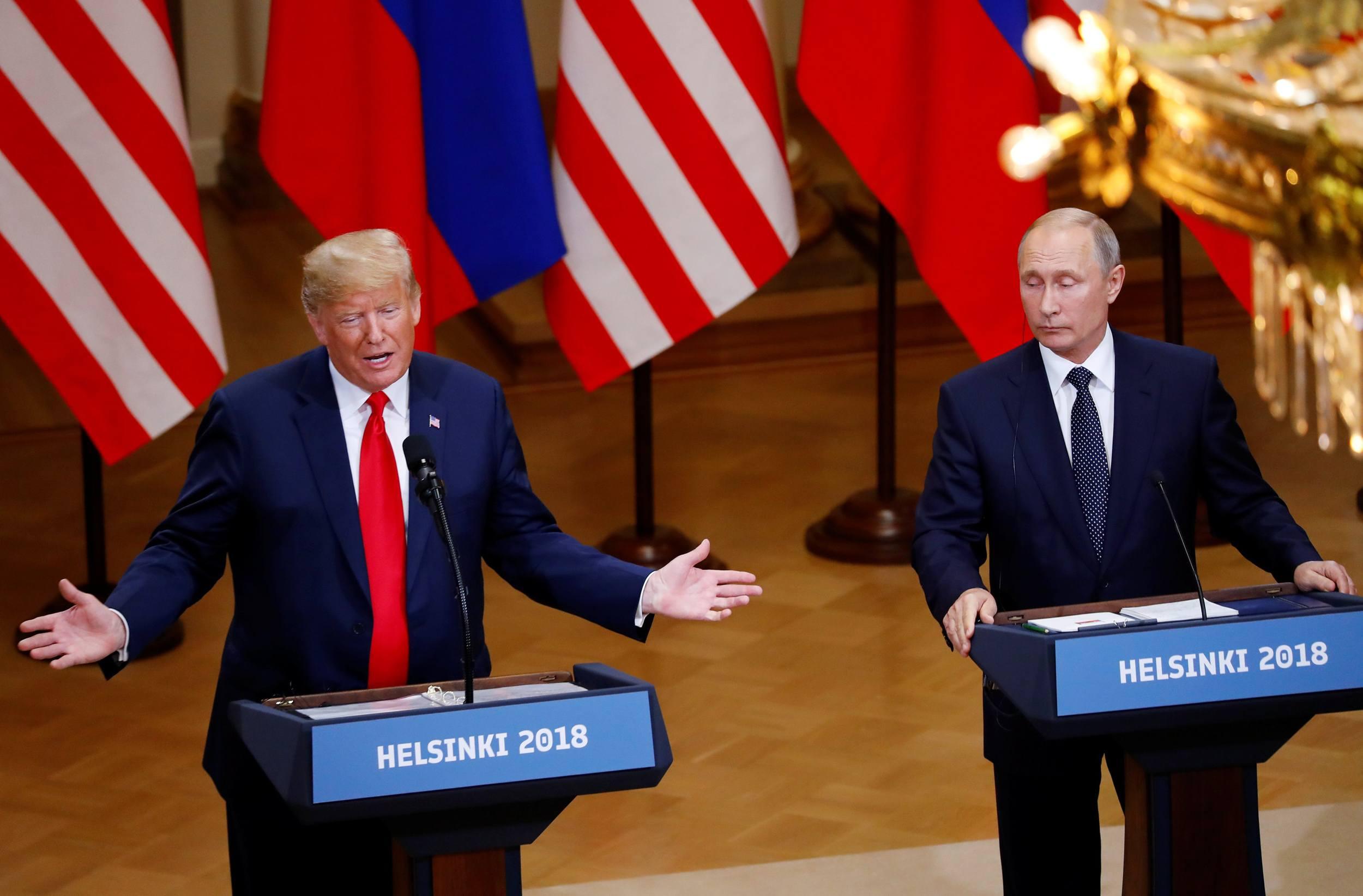 Donald Trump and Vladimir Putin in Helsinki