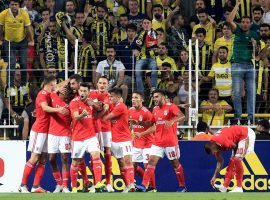 Benfica celebrates during their victory over Turkish club Fenerbahce in the third qualifying round of the 2018-19 Champions League. (Image: AA)