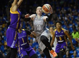 Lindsay Whalen of the Minnesota Lynx scores against Candace Parker of the Los Angeles Sparks during Game 2 of the 2017 WNBA Finals. (Image: Aaron Lavinsky/Star Tribune)