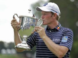 Brandt Snedeker celebrates after winning the 2018 Wyndham Championship by three shots over Pan Cheng-tsung and Webb Simpson. (Image: Chuck Burton/AP)