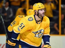 Austin Watson of the Nashville Predators will miss the first 27 games of the NHL regular season due to a suspension for domestic violence. (Image: Christopher Hanewinckel/USA Today Sports)