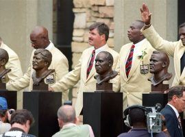 From left to right, Billy Shaw, Eric Dickerson, Tom Mack, Ozzie Newsome and Lawrence Taylor take part in the 1999 Pro Football Hall of Fame induction ceremony. (Image: KRT)
