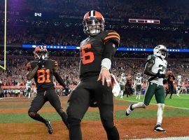 Browns quarterback Baker Mayfield celebrates after a 2-point conversion reception tied Thursday's game 14-14. The Browns went on to beat the New York Jets 21-17 for the team's first win since Christmas Eve 2016. (Photo: Getty Images)