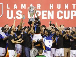 The Houston Dynamo claimed the first trophy in club history on Wednesday by defeating the Philadelphia Union 3-0 in the US Open Cup final. (Image: AP/David J. Phillip)