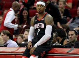 Carmelo Anthony came off the bench on Wednesday for the Houston Rockets, scoring nine points on 3-of-10 shooting. (Image: CBS Sports)