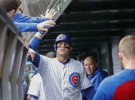 Cubs first baseman Anthony Rizzo celebrates the dinger against Milwaukee that helped keep Chicago's postseason dreams alive. (Image: Kamil Krzaczynski/UPI)