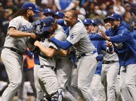 Los Angeles Dodgers celebrate after defeating the Milwaukee Brewers in the NLCS. (Image: Benny Sieu/USA Today)