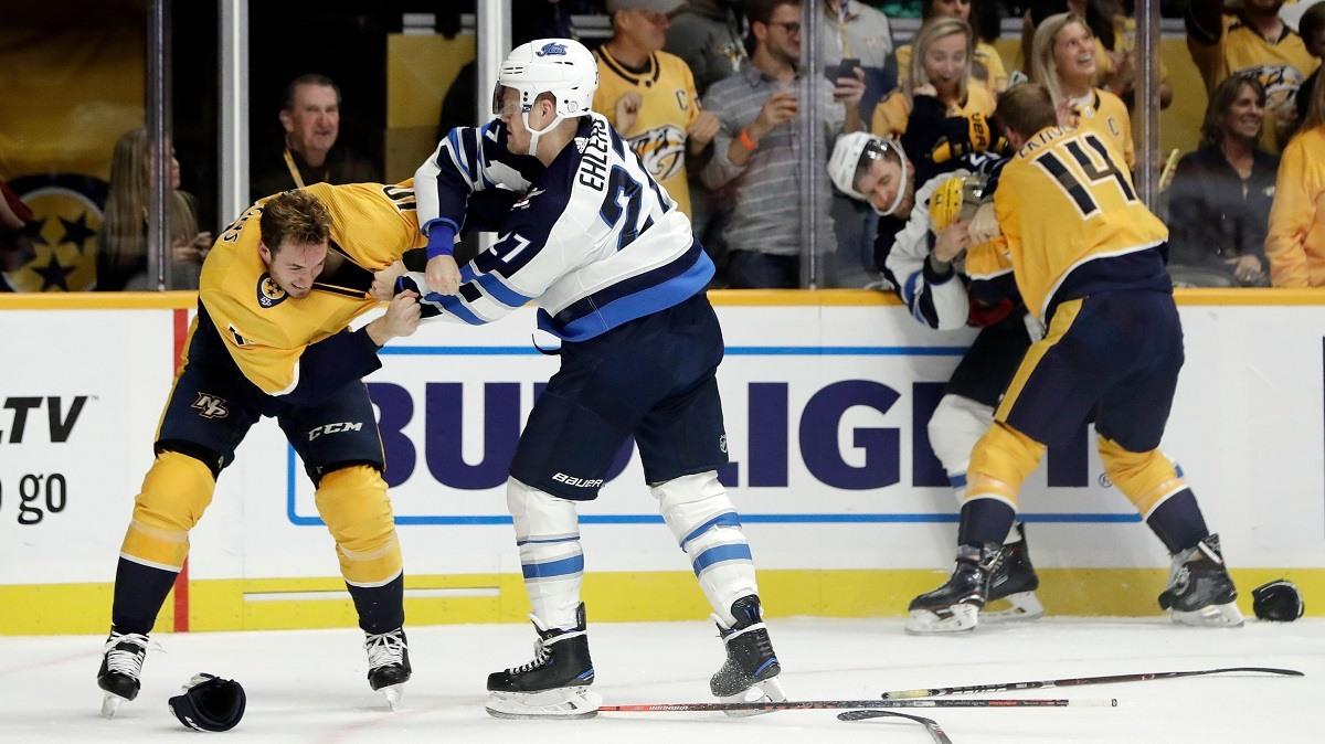 Hockey Fight Predators Jets