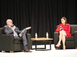 G2E featured numerous panels on sports betting, including a session with ESPN's Scott Van Pelt (left) and the AGA's Sara Slane (right). (Image: CDC Gaming Reports)