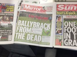 Irish tabloids had a field day with the news that Dublin-area soccer team Ballybrack FC faked the death of one of their players. (Image: Mark Tighe/Twitter)