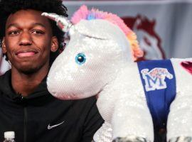 James Wiseman, the #1 high school basketball recruit, used a unicorn during a press conference to reveal his intentions to attend University of Memphis next season. (Image: Brad Vest)