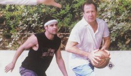 Actor Jess Bradford guards comedian Garry Shandling at one of his secret Sunday pick-up games in LA. (Image: Jesse Bradford/Instagram)