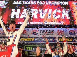 Kevin Harvick celebrates after winning the AAA Texas 500 and clinching a position in the NASCAR Championship 4. (Image: Getty)
