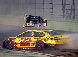 Joey Logano won the Ford EcoBoost 400 at Homestead-Miami Speedway, a victory that earned him his first career NASCAR Cup Series championship. (Image: Mark J. Rebilas/USA Today Sports)